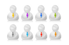 Gray people in ties icon set Royalty Free Stock Photo