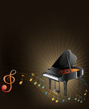 A gray piano with musical notes Royalty Free Stock Images