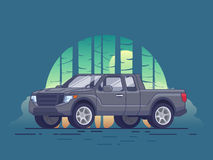 Gray Pickup Truck Concept. Of modern design with forest landscape in flat style vector illustration Stock Photos