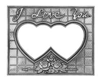 Gray picture frame with a decorative pattern on black background Royalty Free Stock Images