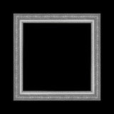 Gray picture frame isolated on black background. Stock Image