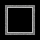 Gray picture frame isolated on black background. Royalty Free Stock Photo