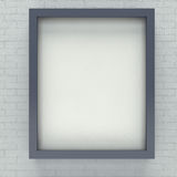 Gray  picture frame. Gray   picture frame for portrait or text on brick wall Stock Photography