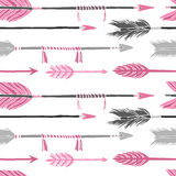 Gray and pink arrows Seamless pattern Royalty Free Stock Photos