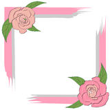 Gray pink frame with roses for greeting card, invitation, text on white, wedding. Gray pink frame with roses for greeting card, invitation, text on white Stock Photo