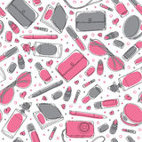 Gray and pink girl stuff - Vector seamless pattern Royalty Free Stock Photo