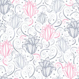 Gray and pink lily lineart seamless pattern Royalty Free Stock Image