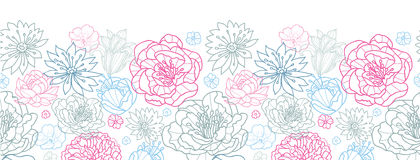 Gray and pink lineart florals horizontal seamless pattern background Royalty Free Stock Photo