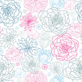 Gray and pink lineart florals seamless pattern background Royalty Free Stock Photo