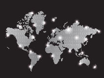 Gray pixel  world map Stock Photos