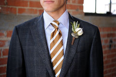 Gray Plaid suit with tan stripes and boutonniere. Image of a Gray Plaid suit with tan stripes and boutonniere Royalty Free Stock Photo