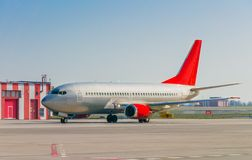 Gray plane in air port Stock Photography
