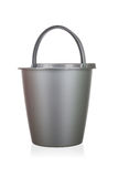 Gray plastic bucket isolated Royalty Free Stock Photo