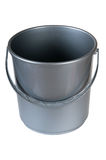 Gray plastic bucket. On a white background Royalty Free Stock Photography
