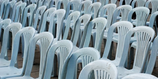 Gray plastic chairs Stock Images