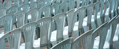 Gray plastic chairs Royalty Free Stock Photography