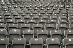 Gray plastic seats. Empty gray plastic seats in a stadium Royalty Free Stock Image