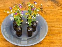 Gray Plate With Vases och blommor på tabellen Fotografering för Bildbyråer