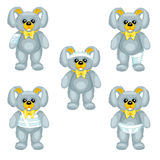 Gray plush bunny with bandages around the different parts of its body Royalty Free Stock Photos