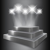 Gray podium with spotlights Royalty Free Stock Image