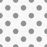 Gray polka dot on a white and gray textured diagonal lines fabric seamless pattern, vector. Background Stock Illustration