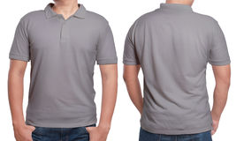 Gray Polo Shirt Design Template. Gray polo t-shirt mock up, front and back view, isolated. Male model wear plain grey shirt mockup. Polo shirt design template Royalty Free Stock Images