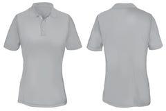 Gray Polo Shirt Template para la mujer Fotografía de archivo