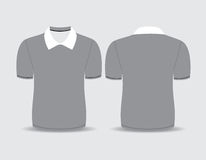 Gray polo t-shirt Front and back views Stock Image
