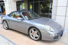 Gray porsche by the road, amoy city, china Royalty Free Stock Photos