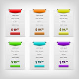 Gray pricing tables with color variation Stock Photography