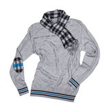 Gray pullover with a scarf Royalty Free Stock Image