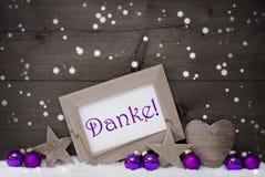 Gray Purple Christmas Decoration Danke betekent, Sneeuwvlokken dank u Royalty-vrije Stock Afbeelding
