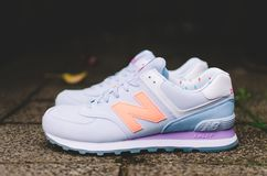 Gray and Purple New Balance Athletic Shoes Royalty Free Stock Photos
