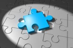 Gray Puzzle med ett blått stycke Royaltyfri Fotografi