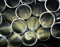Gray PVC pipes stacked Stock Photos