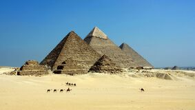Gray Pyramid on Dessert Under Blue Sky Stock Images