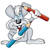 Gray rabbit and crayons Royalty Free Stock Image