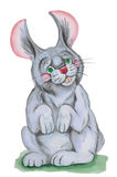 Gray rabbit. Illustration gray rabbit ,made watercolor . on white background Stock Photography