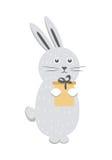 Gray Rabbit mit der Geschenkbox lokalisiert auf weißem Vektor lizenzfreie abbildung