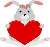 Gray rabbit with red heart Stock Image