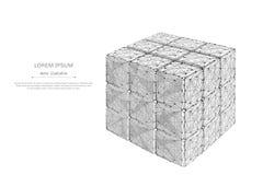 Gray raccolto del cubo di puzzle poli in basso Fotografia Stock Libera da Diritti