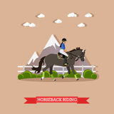 Gray race horse and lady jockey, Horseback riding concept, vector Royalty Free Stock Images