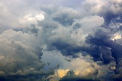 Gray rainy sky with big clouds. Royalty Free Stock Photos
