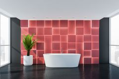 Gray and red bathroom with bathtub. Interior of luxury bathroom with gray and red walls, large windows, comfortable white bathtub and big potted plant. 3d royalty free illustration