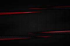 Gray and red carbon fiber frame on black grille background. Metal background and texture. 3d illustration material design Royalty Free Stock Photo