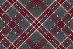 Gray red diagonal check fabric texture seamless pattern. Flat design. Vector illustration Royalty Free Stock Photography