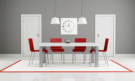 Gray and red dining room. With two white door - rendering Stock Photography