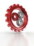Gray and red gears as work concept on white Royalty Free Stock Photos