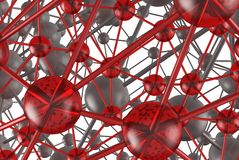 Gray and red glass Molecular geometric chaos abstract structure. Science technology network connection hi-tech background 3d rende. Ring illustration Royalty Free Stock Images