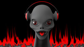 Gray-Red Humanoid on Fire. Rey humanoid with red eyes and tongue Royalty Free Stock Photography